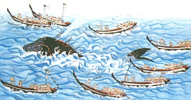 かつての捕鯨の図